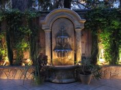 53 Marvelous Backyard Fountains for You to Enjoy in Your Outdoor Space … - All About Garden Backyard Layout, Backyard Gazebo, Backyard Landscaping, Backyard Waterfalls, Backyard Ponds, Backyard Ideas, Garden Ideas, Outdoor Wall Fountains, Garden Water Fountains