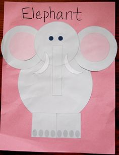 """E"" says elephant. This is a great way to use shapes to make an animal!"