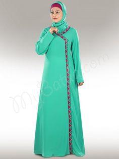 Shop Simple Turquoise Abaya Online | MyBatua.com  Maryum Abaya!  Style No. : ay-316  Shopping Link: http://www.mybatua.com/maryum-abaya  Available Sizes XS to 7XL (size chart: http://www.mybatua.com/size-chart/#ABAYA/JILBAB)