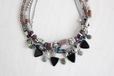 Items similar to Mopti necklace - african inspired multi strands bold necklace with chains and semi-precious stones on Etsy Bold Necklace, Necklace Ideas, Bead Studio, African Necklace, Beaded Jewelry, Jewellery, Metal Necklaces, Metal Beads, Statement Jewelry