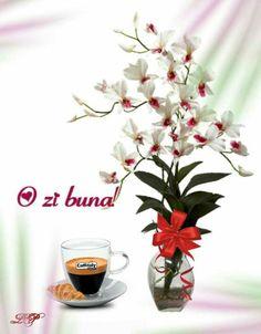 Imagini buni dimineata si o zi frumoasa pentru tine! - BunaDimineataImagini.ro Happy Aniversary, Morning Greeting, Good Morning, Glass Vase, Tableware, Plants, Design, Coffee, Life