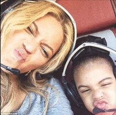 Up in the air: Beyonce shared a cute selfie of the duo as they took a helicopter ride