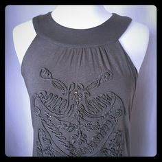 INC embellished dress Great design! Inc brand cotton/rayon dress with rhinestone detail and unique design. Has inside support bra. In great condition. Perfect with leggings. INC International Concepts Dresses Midi