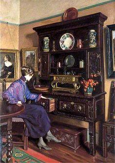 ◇ Artful Interiors ◇ paintings of beautiful rooms - Charlres H. H. Burleigh: The Oak Dresser. Worthing Museum & Art Gallery