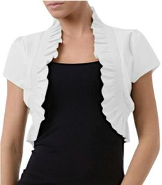 Amazon.com: ToBeInStyle Women's Ruffled High Collar Bolero Short Sleeve Jacket: Clothing