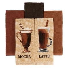 Mainstays Decorative Kitchen Towels Set of 5 - Mocha Cappuccino * You can find more details by visiting the image link.