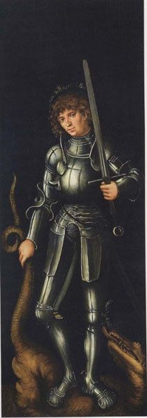 Lucas Cranach the Elder (Kronach, 1472 – Weimar, - Saint George. Circa Тhe exterior of the right leaf of a diptych of the Duke and Duchess of Saxony Medieval Art, Renaissance Art, Medieval Knight, Martin Luther, St Georg, Saint George And The Dragon, Lucas Cranach, Landsknecht, Saint Christopher