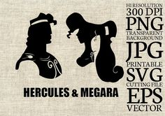 Hercules and Megara Disney Silhouette SVG Cut by CartoonCliparts