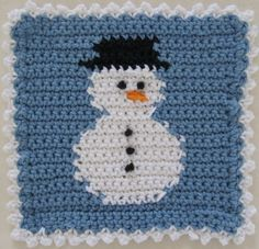 """Free pattern for """"Snowman Square/Dishcloth""""!"""
