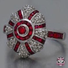 Anillo de diamante Rubí de Art Deco de Donn