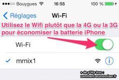Batterie iPhone : Utiliser le WiFi plutôt que le Réseau Mobile.