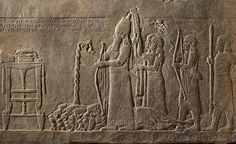 Nineveh Neo-Assyrian: Relief showing king pouring libation over dead lions Assyria, ca 645–640 BC. British Mus, London  Image: © The Trustees of the British Museum