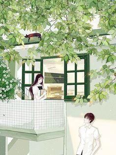 ngajak date dulu Cute Couple Cartoon, Cute Couple Art, Anime Love Couple, Anime Gifs, Art Anime, Anime Art Girl, Couple Illustration, Illustration Art, Cover Wattpad