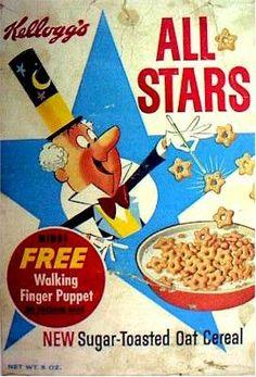Breakfast cereal image for All Stars cereal called Kellogg's All Stars Cereal Box. Oat Cereal, Breakfast Cereal, Cereal Boxes, Cereal Food, Retro Recipes, Vintage Recipes, Vintage Advertisements, Vintage Ads, Vintage Food
