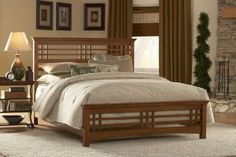 Wood Bedroom Furniture: Classy Rubberwood Furniture For Bedroom Design Ideas With Japanese Wood Bed Frame Including White Flare Lampshade And Natural Bed Sheet Mission Style Bedrooms, Mission Style Furniture, Bedroom Furniture, Bedroom Decor, King Furniture, Lacquer Furniture, Bedroom Rustic, Wood Bedroom, Furniture Outlet