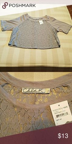 CHLOE K CROP TOP CHLOE K  GRAY CROP TOP LACE FRONT AND BACK  NWT SIZE LARGE  MATERIAL 45? COTTON 55 ? LINEN PERFECT WITH SHORTS OR JEANS VERY COMFORTABLE  SMOKE-FREE HOME Chloe K Tops Crop Tops