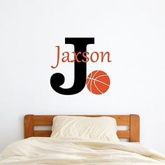 Personalized Name Basketball Wall Decal >>> You can find more details by visiting the image link. (Amazon affiliate link)