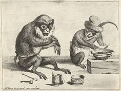Two monkeys doing medicine - one heating a compound, the other applying a compress. From a suite of anthropomorphic engravings from 1635 by Quirin Boel & David Teniers