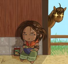 harvest moon fanart | Tumblr      Harvest moon tale of two towns, kana gets more horse treats than the actual horses lol X)