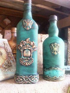 IOD....by Vrisi Eleni !!!Clair.V Potion Bottle, Diy Bottle, Wine Bottle Crafts, Mason Jar Crafts, Bottle Art, Altered Bottles, Antique Bottles, Vintage Bottles, Bottles And Jars