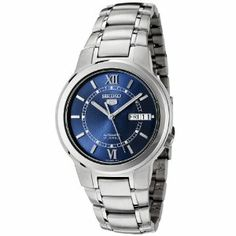 Seiko Men's SNKA21K Automatic Stainless Steel Watch Seiko. $120.00. Hardlex crystal; Brushed and polished stainless steel case and bracelet. Water-resistant to 99 feet (30 M). Blue dial with silver tone hands, hour markers and roman numerals at 12:00 and 6:00; Luminous; Sweeping second hand; Exhibition case back. Precise 21 Jewel Japanese Automatic movement. Day function in english and spanish; Date function