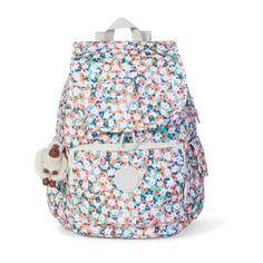 Kipling Ravier Medium Printed Backpack (€115) ❤ liked on Polyvore featuring bags, backpacks, meadow flower pink, strap backpack, flower backpack, kipling, daypack bag and pink backpack