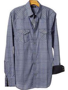 $70 Slim fit mini-plaid western shirt | Banana Republic
