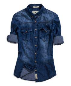 Look at this #zulilyfind! Dark Blue Denim Roll-Tab Button-Up #zulilyfinds