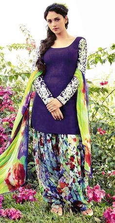 USD 48.38 Aditi Rao Hydari Purple Cotton Jacquard Punjabi Suit 55677