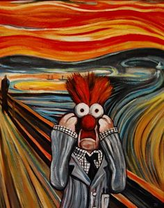 The Scream by Edvard Munch. The famous painting given a new twist with Beaker from The Muppets. Pop Art, Scream Parody, Les Muppets, Beaker Muppets, Le Cri, The Muppet Show, Edvard Munch, Jim Henson, Arte Popular