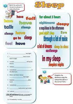 sleep collocations