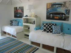 vintage car nursery ideas | Blue and white room for teens with several shades of blue.