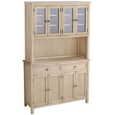 Our Torrance Hutch is crafted of durable hardwood and has two sets of glass doors, each in front of three shelves. With a natural finish and antiqued pewter-toned hardware, it's the perfect complement to pair with our Torrance Buffet.  The Buffet has tons of storage. Two top drawers are felt-lined to protect flatware and serving sets. Bottom doors open to reveal an adjustable shelf and a back with cord cutouts, making it an easy option for media storage, too.