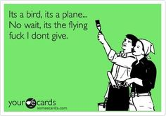 It's a bird, it's a plane. No wait, it's the flying fuck I don't give. Gotta love Superman style jokes with a flying fuck twist. Sarcastic Quotes, Funny Quotes, Beer Quotes, Funny Memes, Someecards Funny, Sarcastic Ecards, Hilarious Sayings, Hilarious Animals, Humor Quotes
