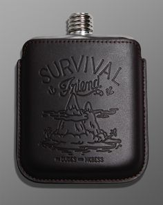 Gift idea: Portable libations! The Down The Hatch stainless steel flask and leather case designed by French illustrator McBess would make a great gift or stocking stuffer, just remember to fill it before you give it. | $34.90 - shipps from Germany so order soon if you want it in time for Christmas. #holidaygifts #giftidea