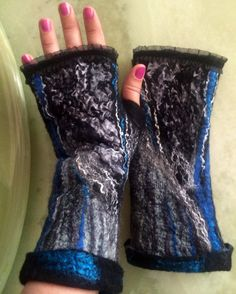 Black  grey gray blue white fingerless felted fine merino wool viscose gloves mittens nunofelted wrist warmers