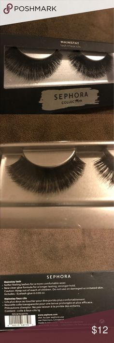 """Fake Lashes with Glue!! """"Mainstay"""" false lashes from the Sephora collection.  NEVER WORN. Comes with glue. In original packaging. As far as I can tell this style is no longer available. They are definitely full, voluminous and dramatic. I bought these in November thinking I'd start wearing falsies but they've just been sitting in my makeup drawer. The box isn't in perfect condition but I repeat- THE LASHES HAVE NEVER BEEN TOUCHED. Sephora Makeup False Eyelashes"""