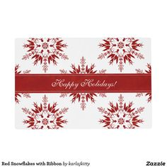 Red Snowflakes with Ribbon Placemat