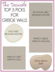 More taupe grey paint colors. // Way to blend existing taupe walls with desired grey: transition spaces with greige. Greige Walls - had to finally create this board. Grey Paint Colors, Interior Paint Colors, Wall Colors, House Colors, Gray Paint, Neutral Paint, Neutral Colors, Hallway Colors, Interior Design