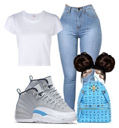 """""""#jordan12"""" by baddiest-bish ❤ liked on Polyvore featuring NIKE, RE/DONE and MCM"""