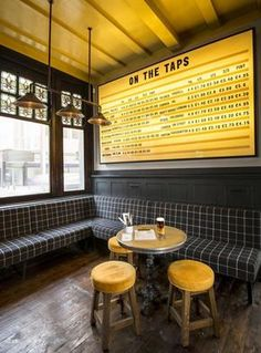 Industrial Interior Design – This Restaurant and bar goes for a warehouse chic style with metal, concrete, and wood Pub Design, Brewery Design, Cafe Industrial, Industrial Interiors, White Industrial, Industrial Windows, Industrial Apartment, Industrial Office, Industrial Farmhouse
