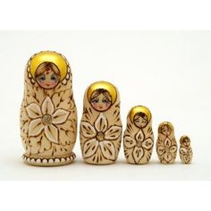 Woodburned floral Russian nesting dolls