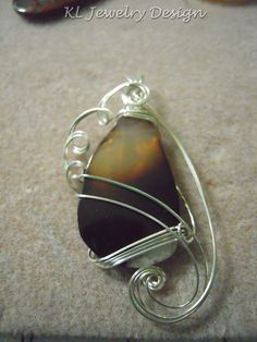 Brown Agate in Silver Pendant by KLJewelryDesign on Etsy, $25.00