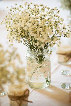 Vintage Wedding Decoration Shabby Chic Vase with Lace flower / candle  jar