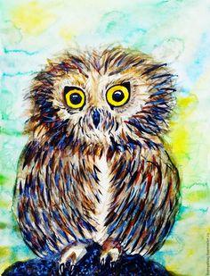 Купить Мохноногий сыч - комбинированный, сова, мохноногий сыч, акварель, акварельная бумага, акварельная картина