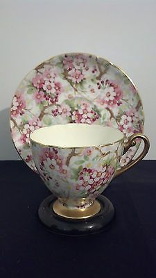"GORGEOUS SHELLEY BONE CHINA ENGLAND ""MAYTIME"" APPLE BLOSSOMS CUP AND SAUCER"