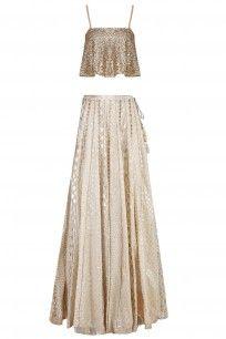 Gold Embellished Crop Top with Off White Skirt #perniaspopupshop  #clothing #shopping #happyshopping