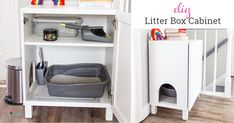 Best litter box idea I've seen to make a DIY hidden litter box for the cat using an IKEA cabinet. This litter box enclosure is dog proof, cheap and an easy project to make this cabinet. Top Entry Litter Box, Hiding Cat Litter Box, Diy Litter Box, Best Litter Box, Litter Box Enclosure, Outdoor Cat Tree, Natural Air Freshener, Ikea Cabinets, Ikea Hack