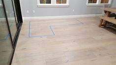 Measuring for couch before we purchase it. Painters tape.