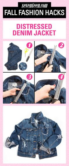 Update the classic style for fall with cool distressing. All you need is common kitchen tool to take an old jean jacket you've had in your closet forever from basic to badass.